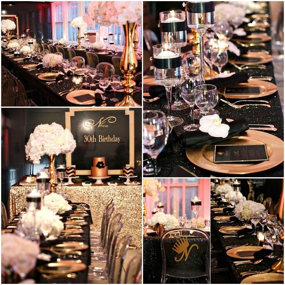 10 Gorgeous Party Ideas For 30Th Birthday black and gold 30th birthday party ideas 30th birthday party 3