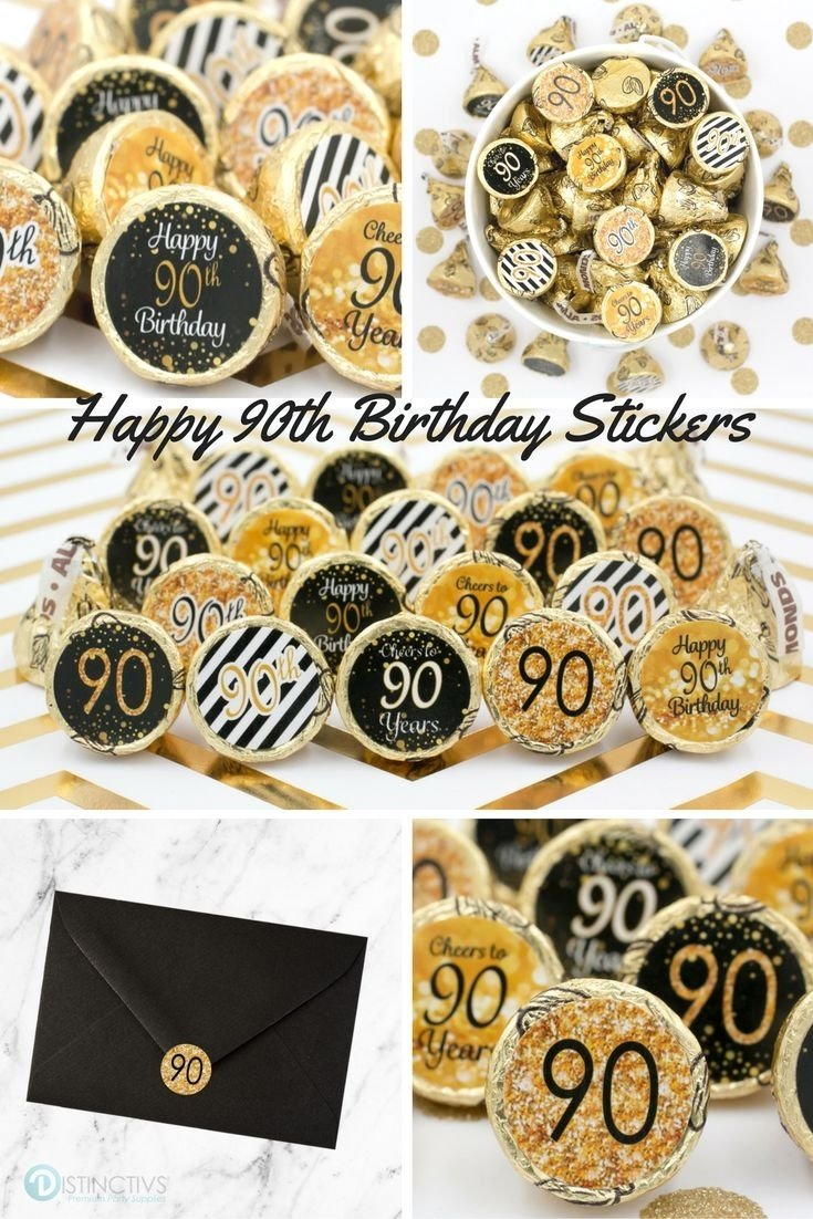 10 Nice Ideas For 90Th Birthday Party Black And Gold 90th Favor Stickers Set