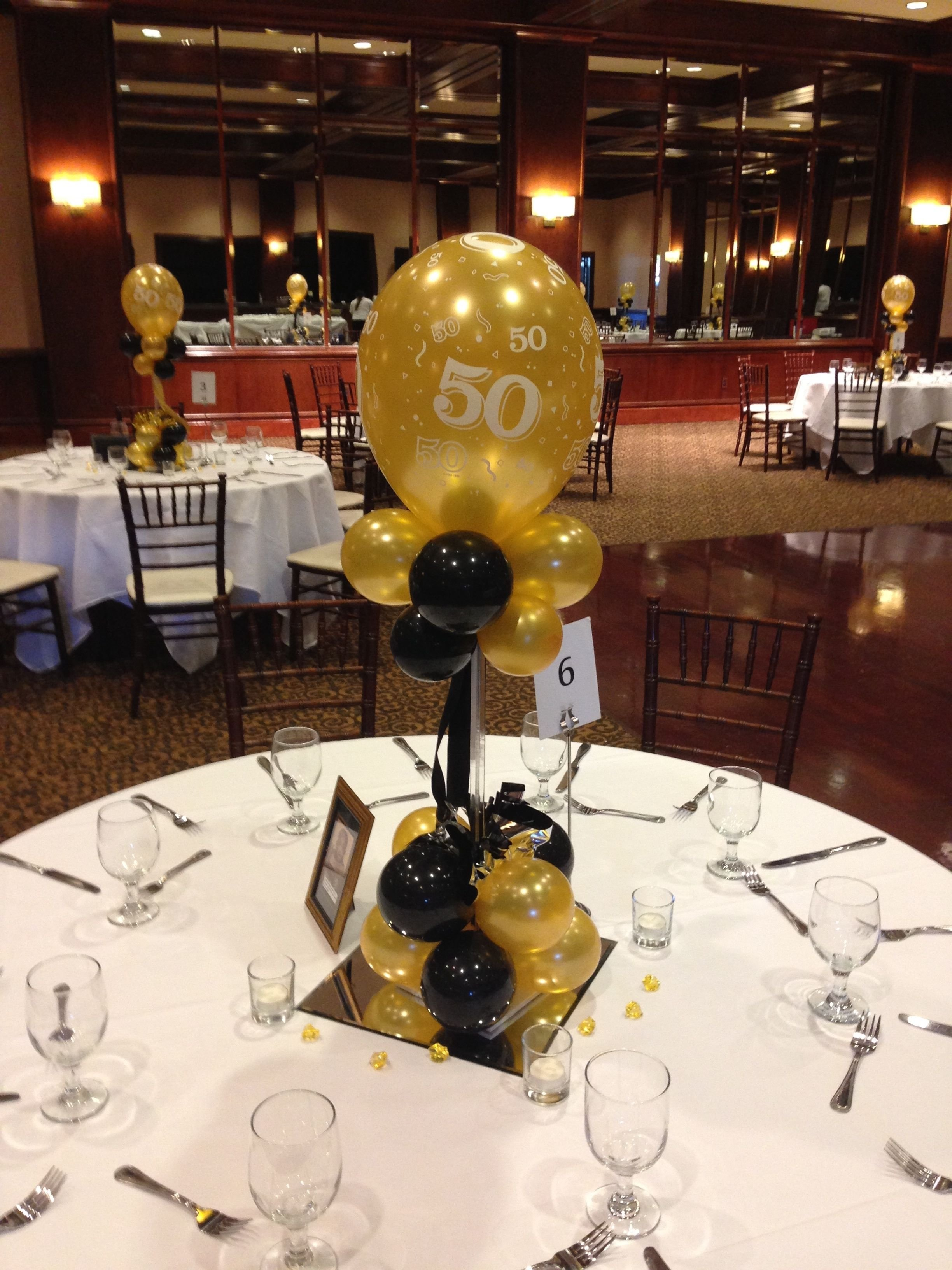 10 Stylish Party Ideas For 50Th Birthday black and gold balloon centerpieces for a 50th birthday or 10