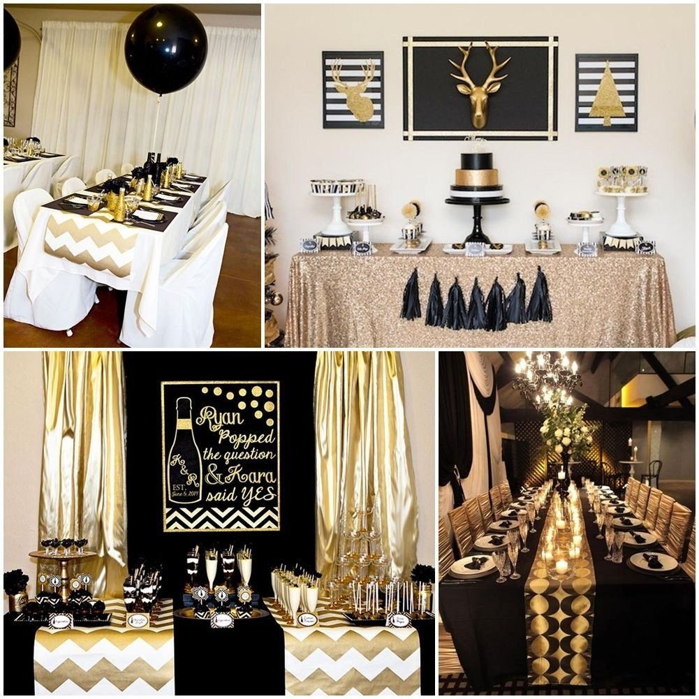 10 Fabulous Golden Birthday Ideas For Adults black and gold party table decorations party deco pinterest 1