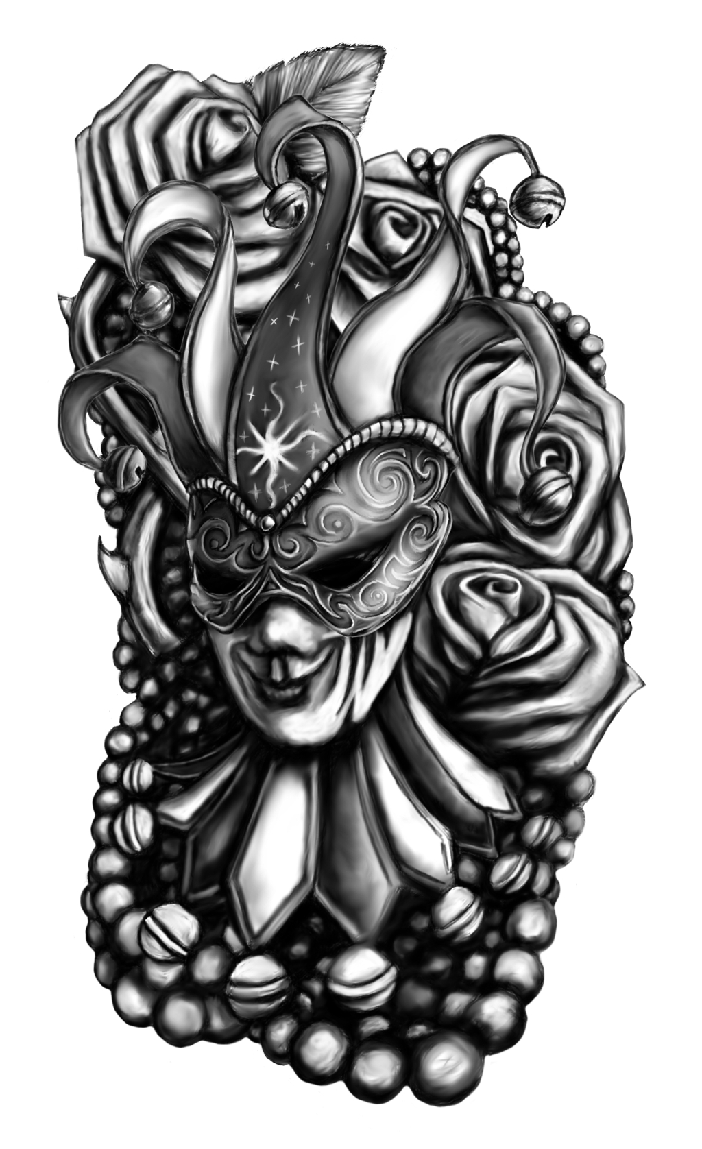 10 Most Recommended Black And Grey Tattoo Ideas black and grey mardi gras with roses tattoo designlewis brown