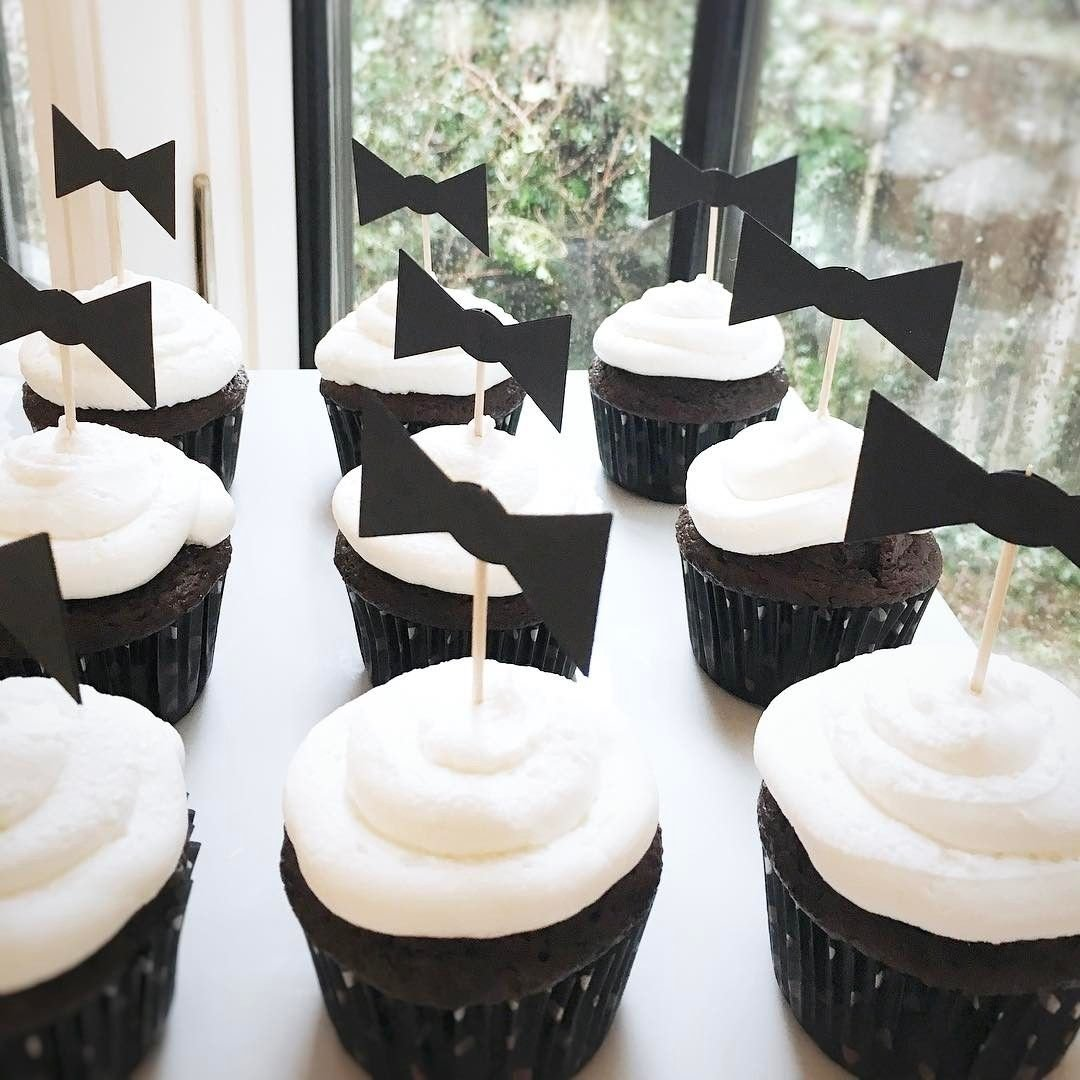 10 Great Black And White Baby Shower Ideas black and white baby shower theme bowtie cupcake toppers baby 2021
