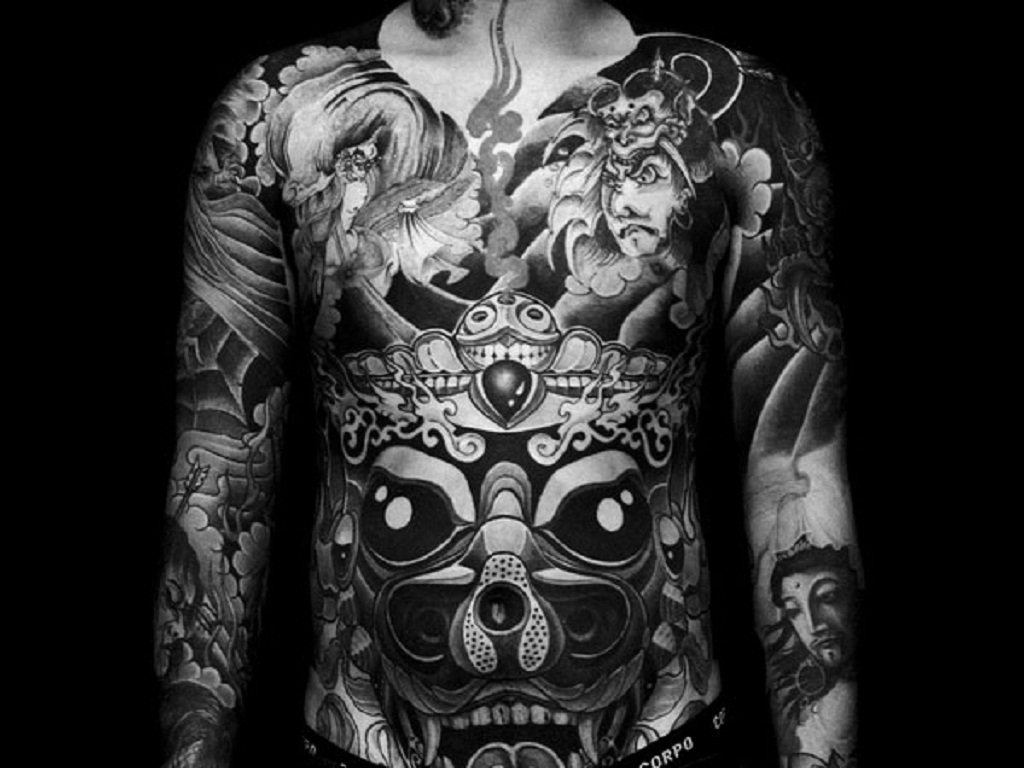10 Fashionable Black And White Tattoo Ideas black and white front full body tattoo ideas toycyte 2020