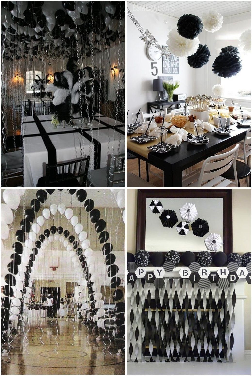10 Stylish Black And White Party Decoration Ideas black and white graduation party ideas father daughter dance decor 2 2020
