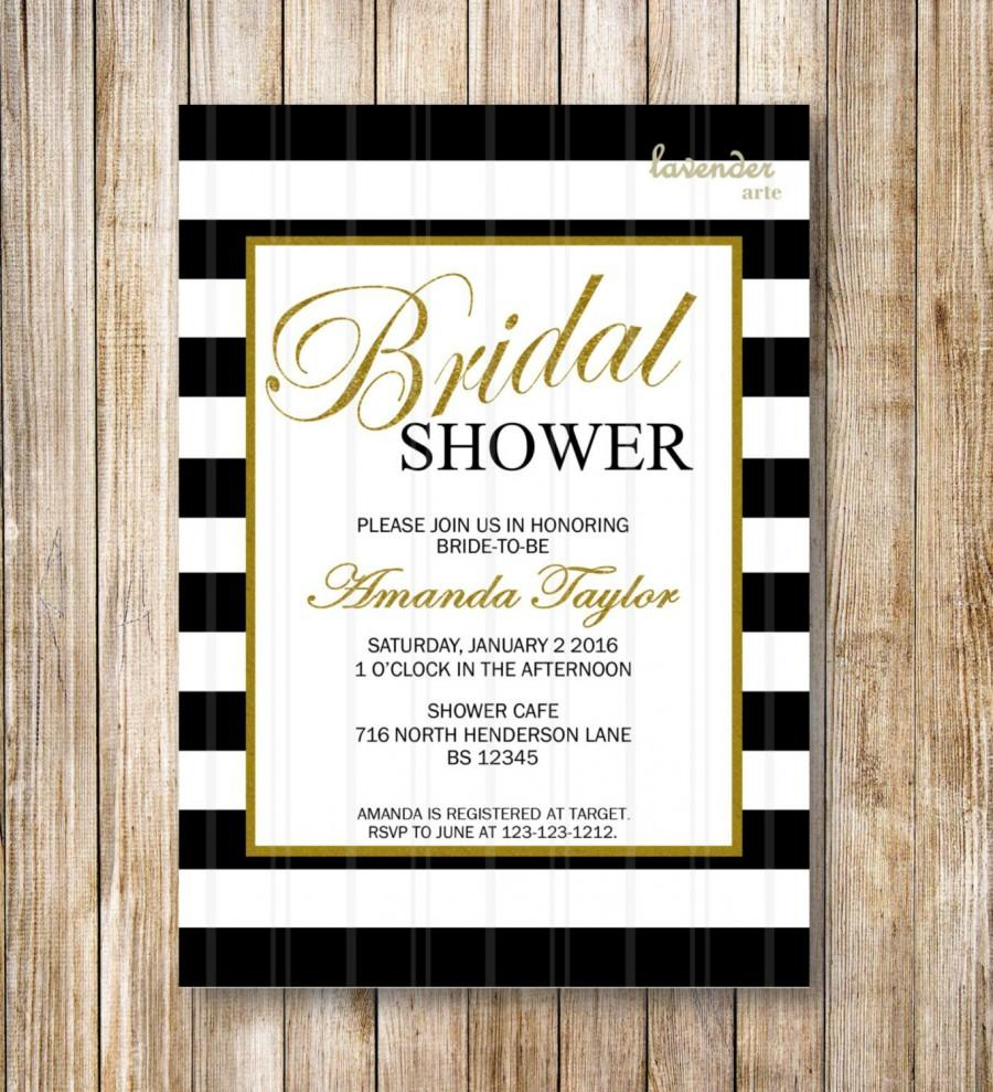 10 Most Recommended Diy Bridal Shower Invitations Ideas black and white stripes bridal shower invitation coco chanel