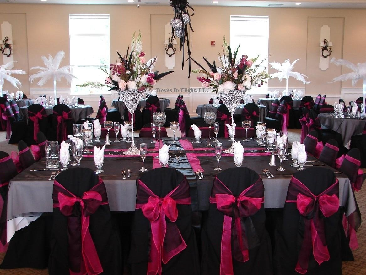 10 Trendy Black And Silver Wedding Ideas black chair cover with pink sash party ideas pinterest black 2020
