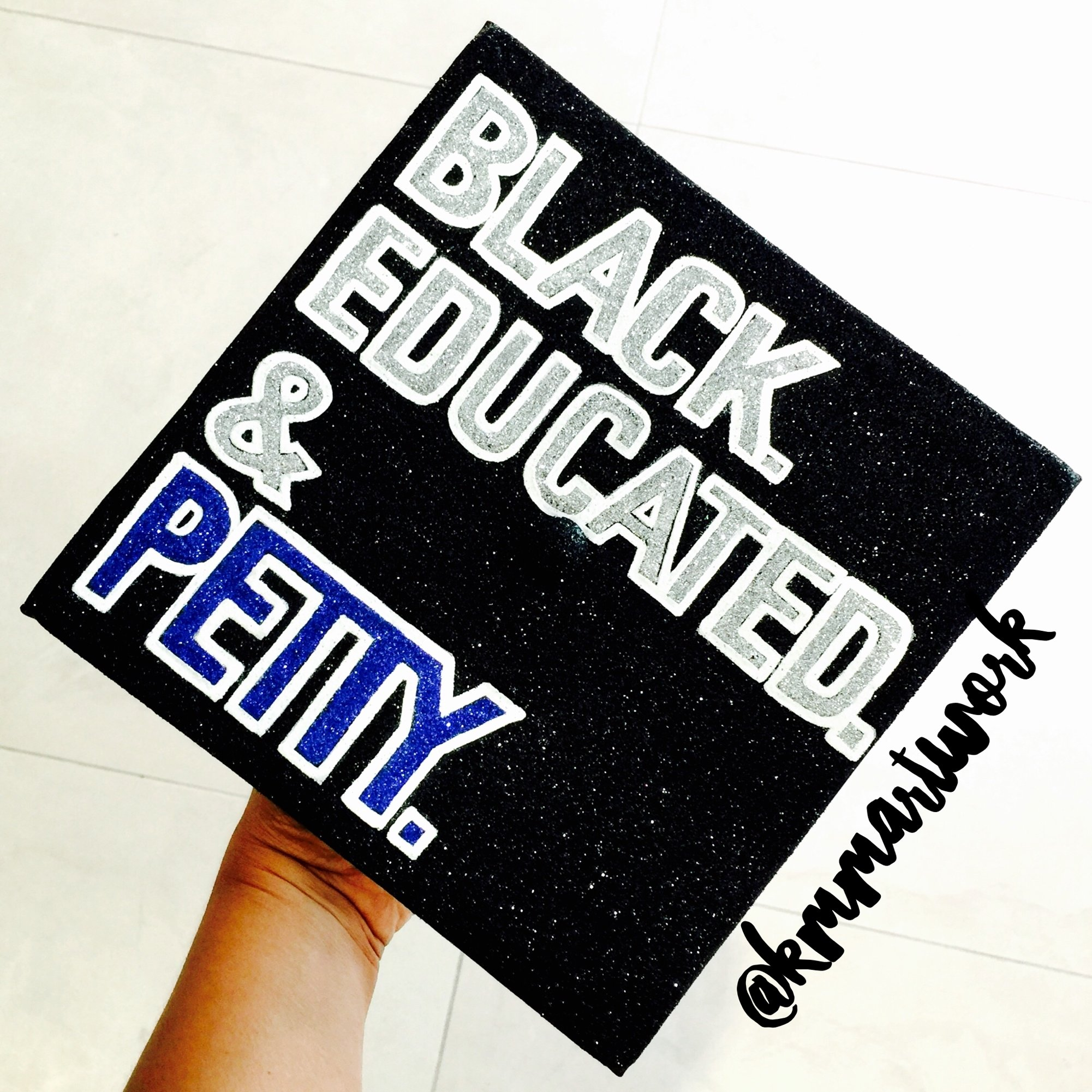 10 Lovely High School Graduation Cap Decoration Ideas black educated petty graduation cap design inspired graduation 2020