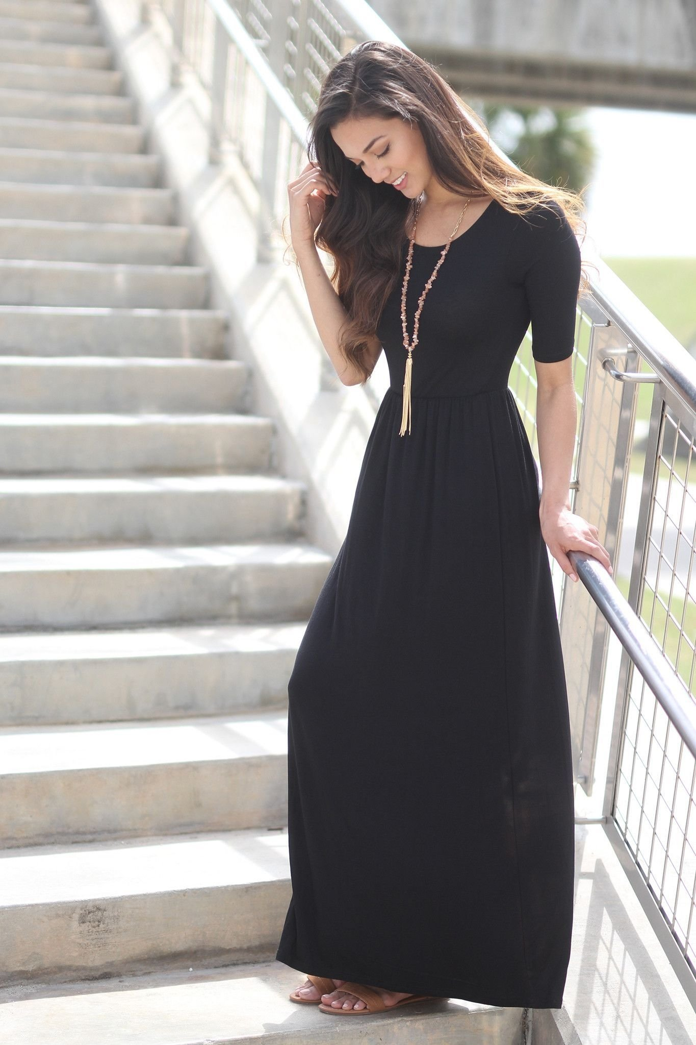 10 Awesome Long Black Skirt Outfit Ideas black maxi dress with 3 4 sleeves black maxi maxi dresses and 2020