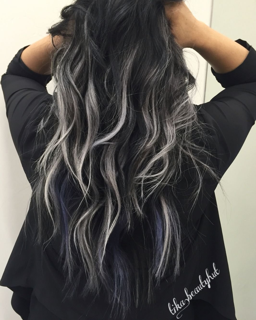 10 Pretty Black Hair With Highlights Ideas black silver balayage curly hair pinteres 2020