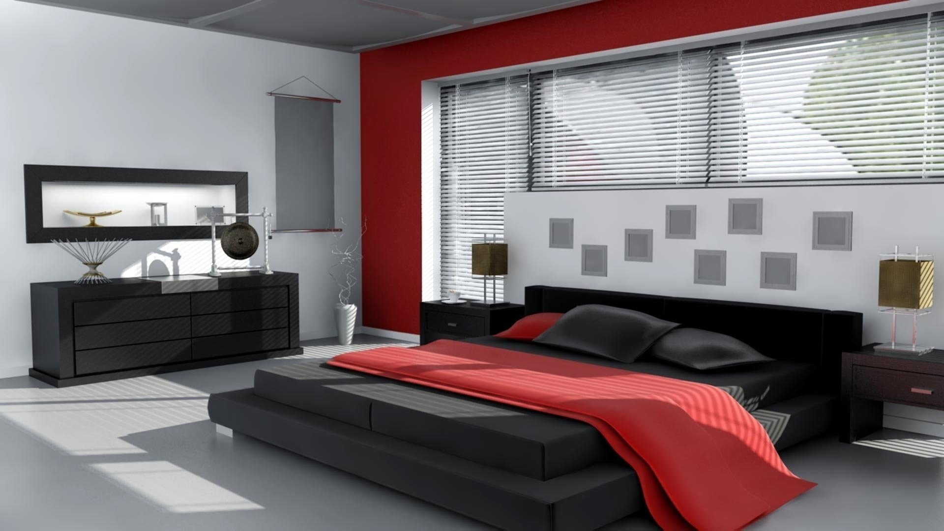 black white and red room decor • white bedroom design
