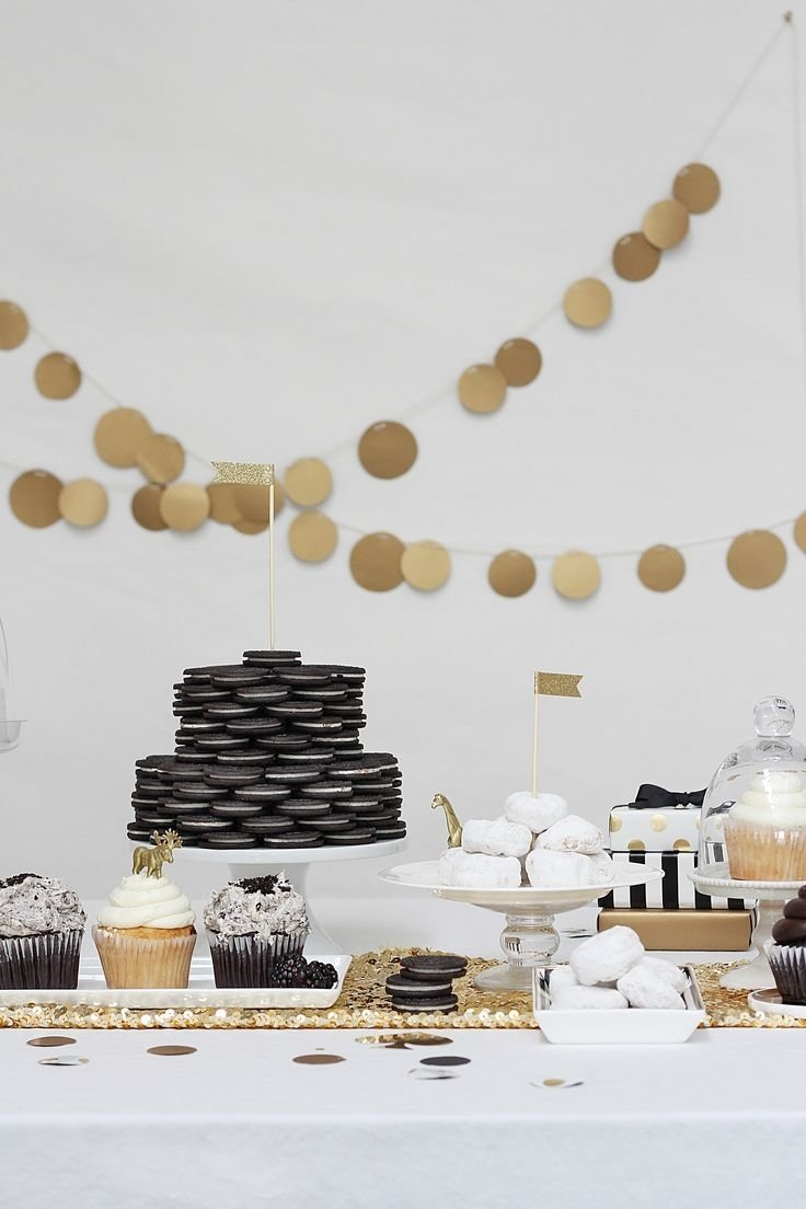 10 Unique Golden Birthday Party Ideas For Adults black white birthday party gold dessert and birthdays 2020