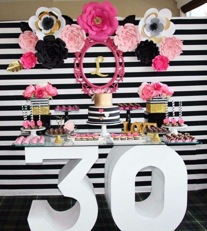 10 Wonderful 30Th Birthday Party Ideas For Her black white pink and a little golden birthday party ideas black 2 2020