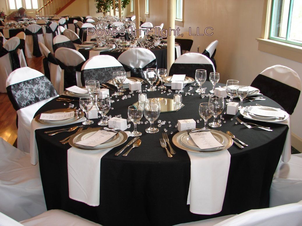 black white red gold reception decorations | pink embroidered
