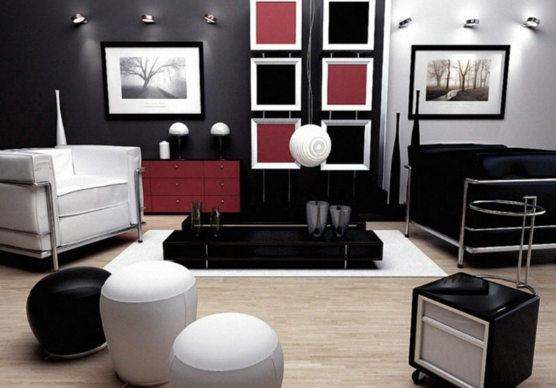 10 Beautiful Red And Black Living Room Ideas black white red living room design decobizz 2020