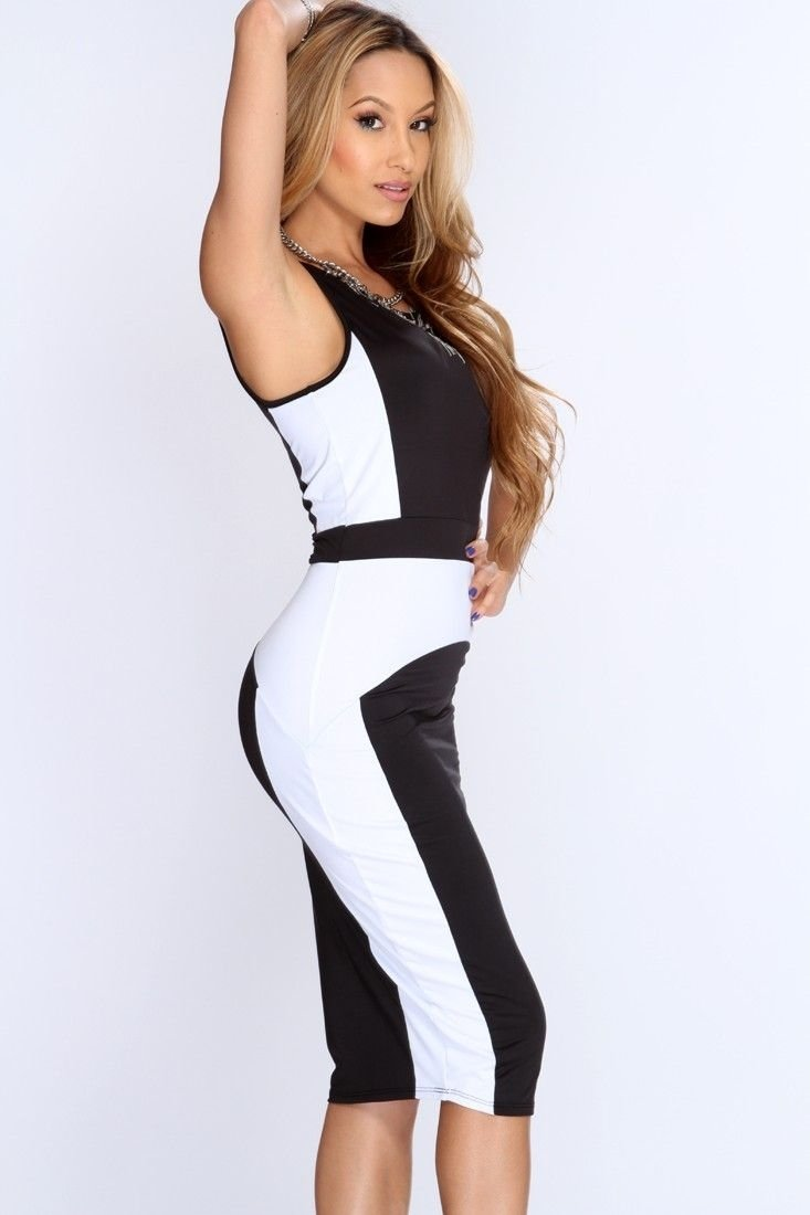 black white two tone knee length bodycon party dress | bodycon
