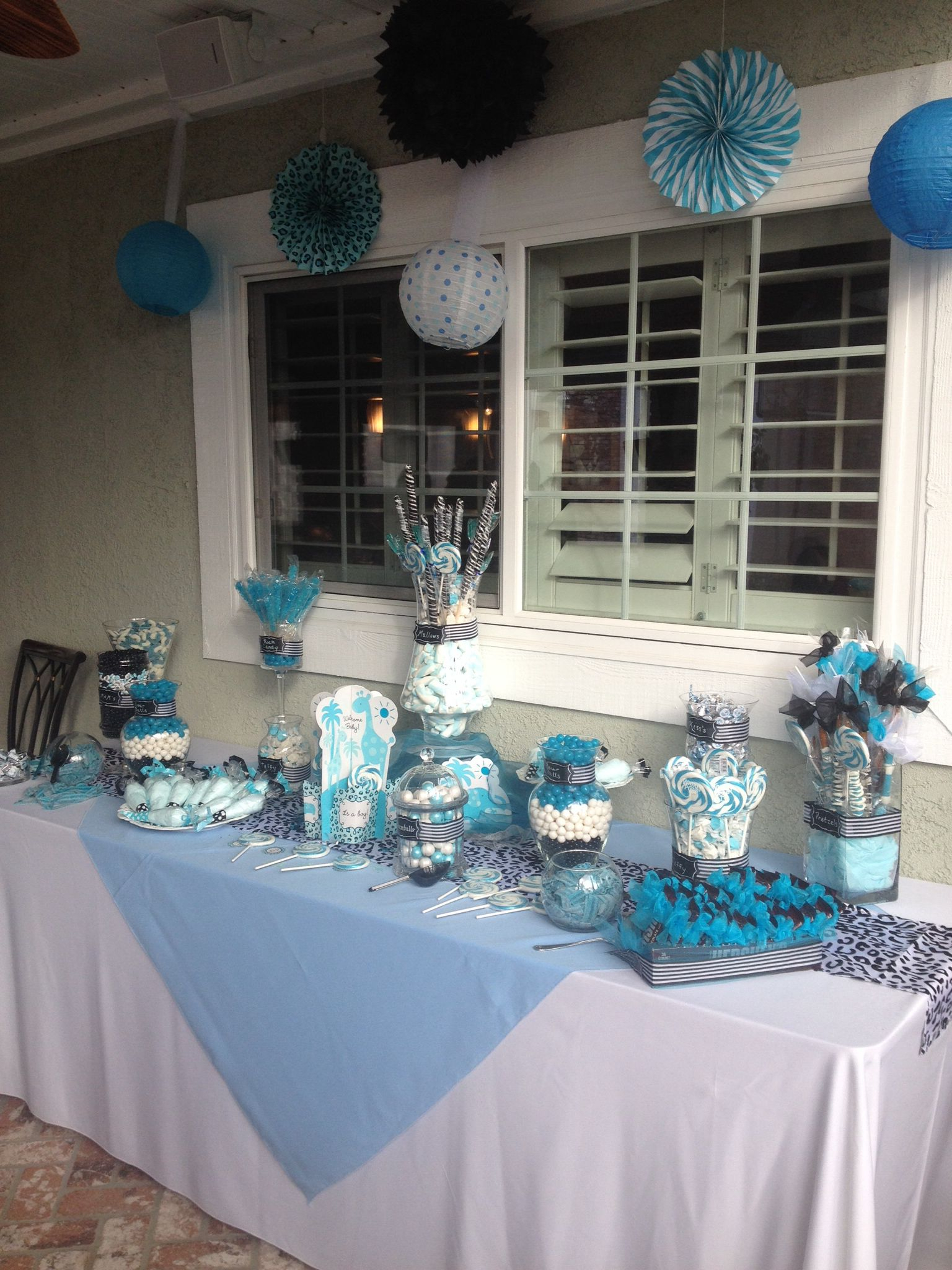 10 Beautiful Blue And White Baby Shower Ideas blue black and white baby shower candy table baby showers in 2020