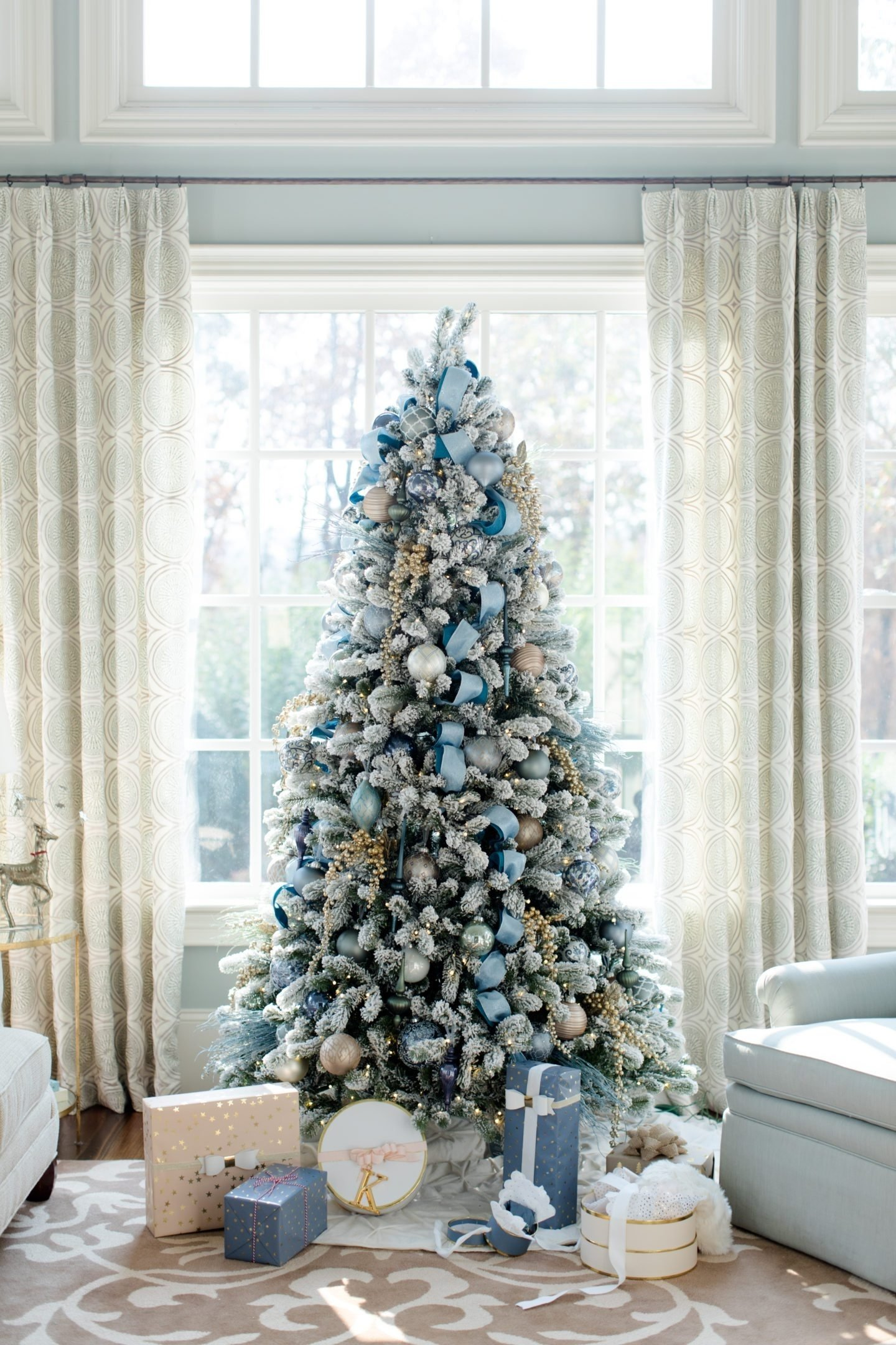 10 Elegant Flocked Christmas Tree Decorating Ideas Blue A Tour Of Our Home