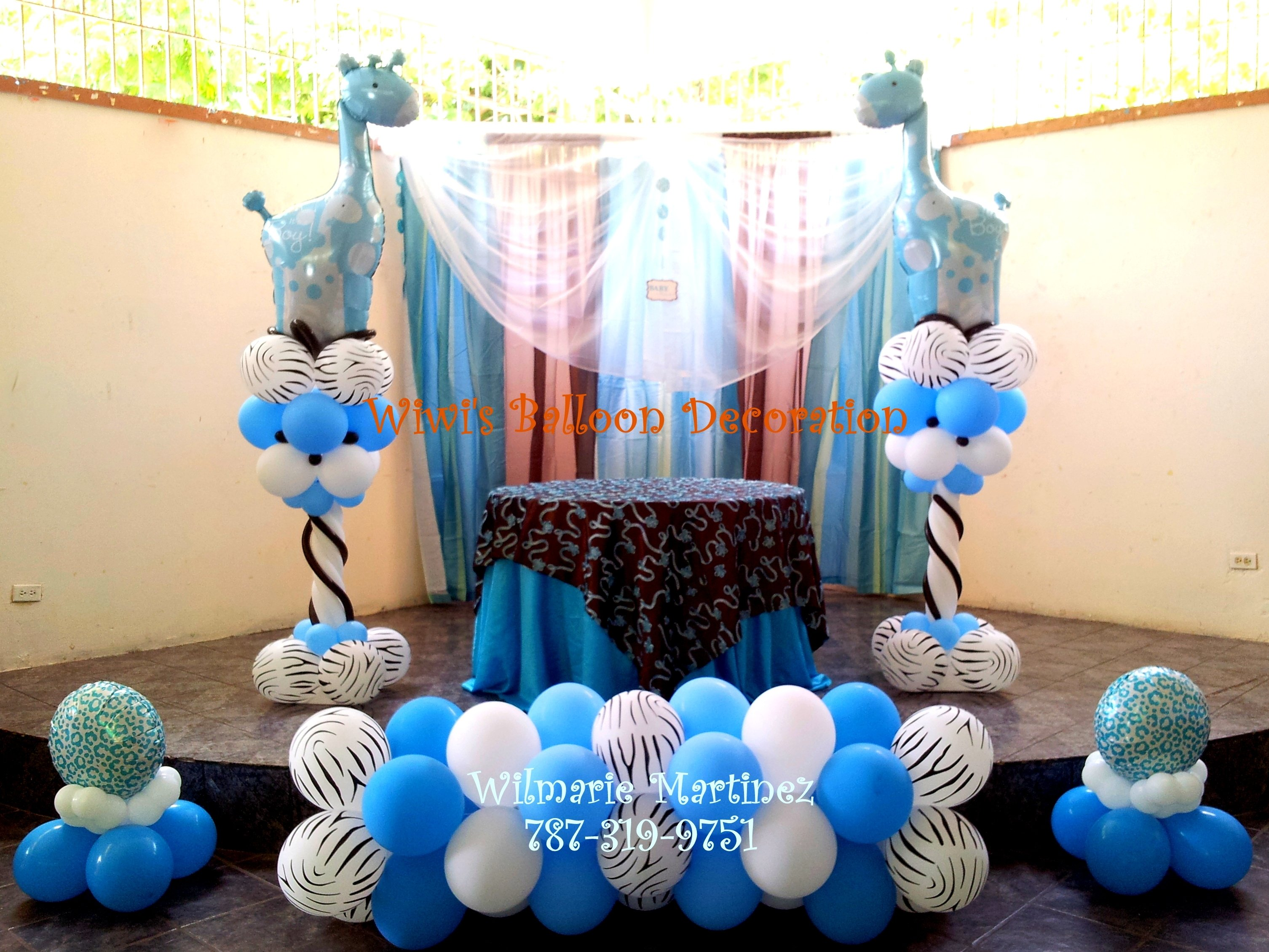 10 Nice Baby Shower Balloon Decoration Ideas blue safari baby shower baby shower pinterest babies balloon columns