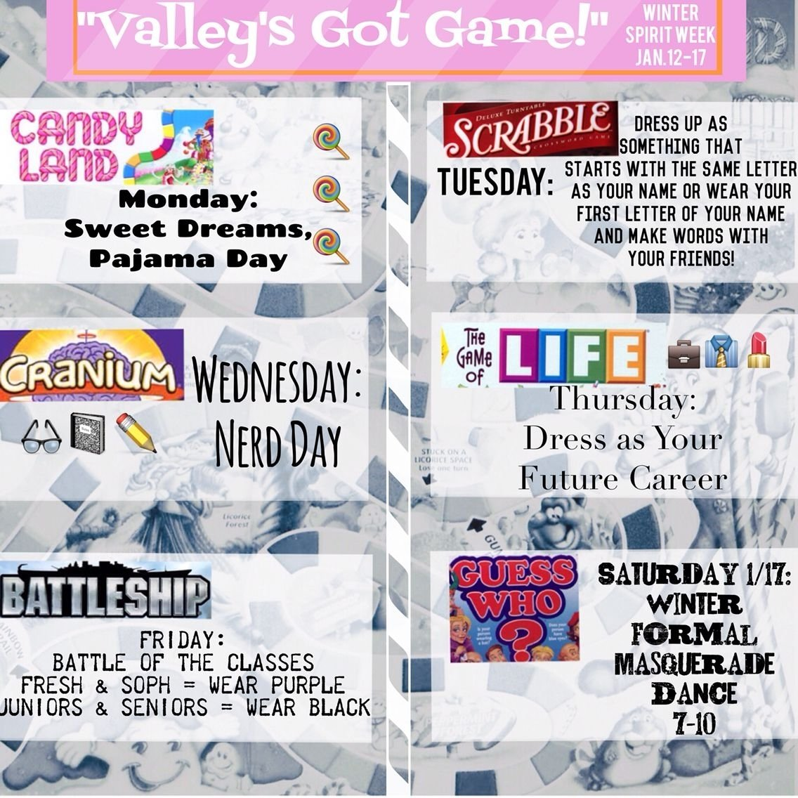 10 Gorgeous Spirit Days Ideas For High School board game spirit week theme with a guess who masquerade dance 3 2021