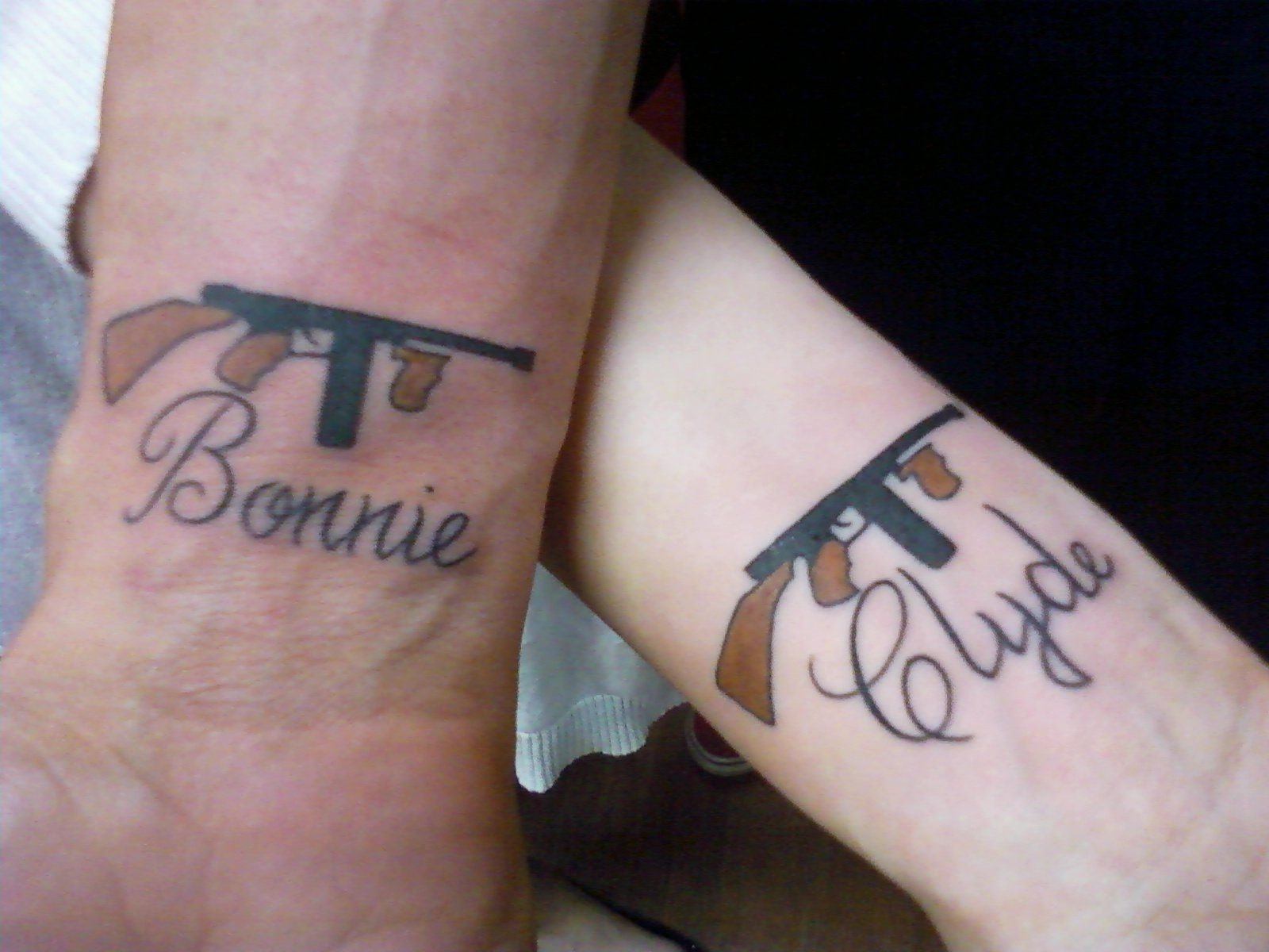 10 Pretty Boyfriend And Girlfriend Matching Tattoos Ideas bonnie and clyde couples tattoo got this tattoo after just a few 2 2020