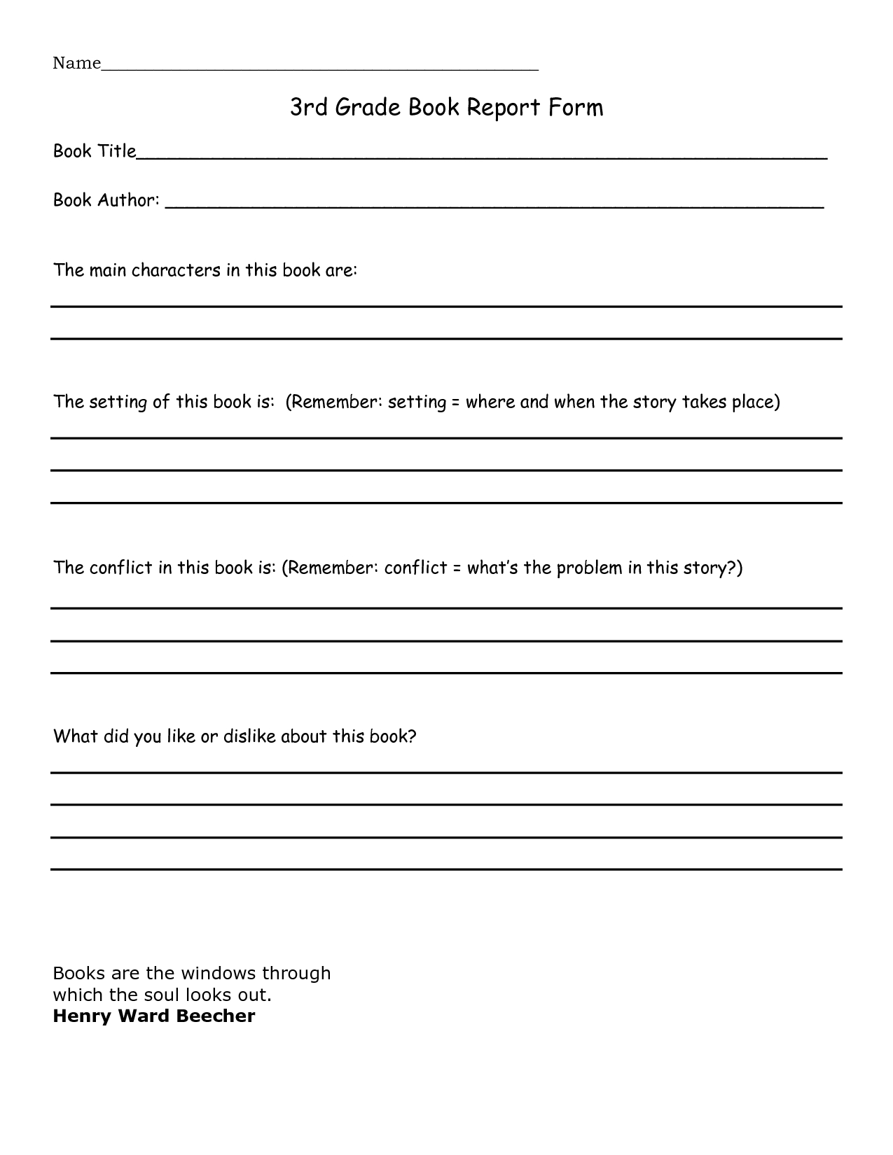 book report 3rd grade template - google search | home education