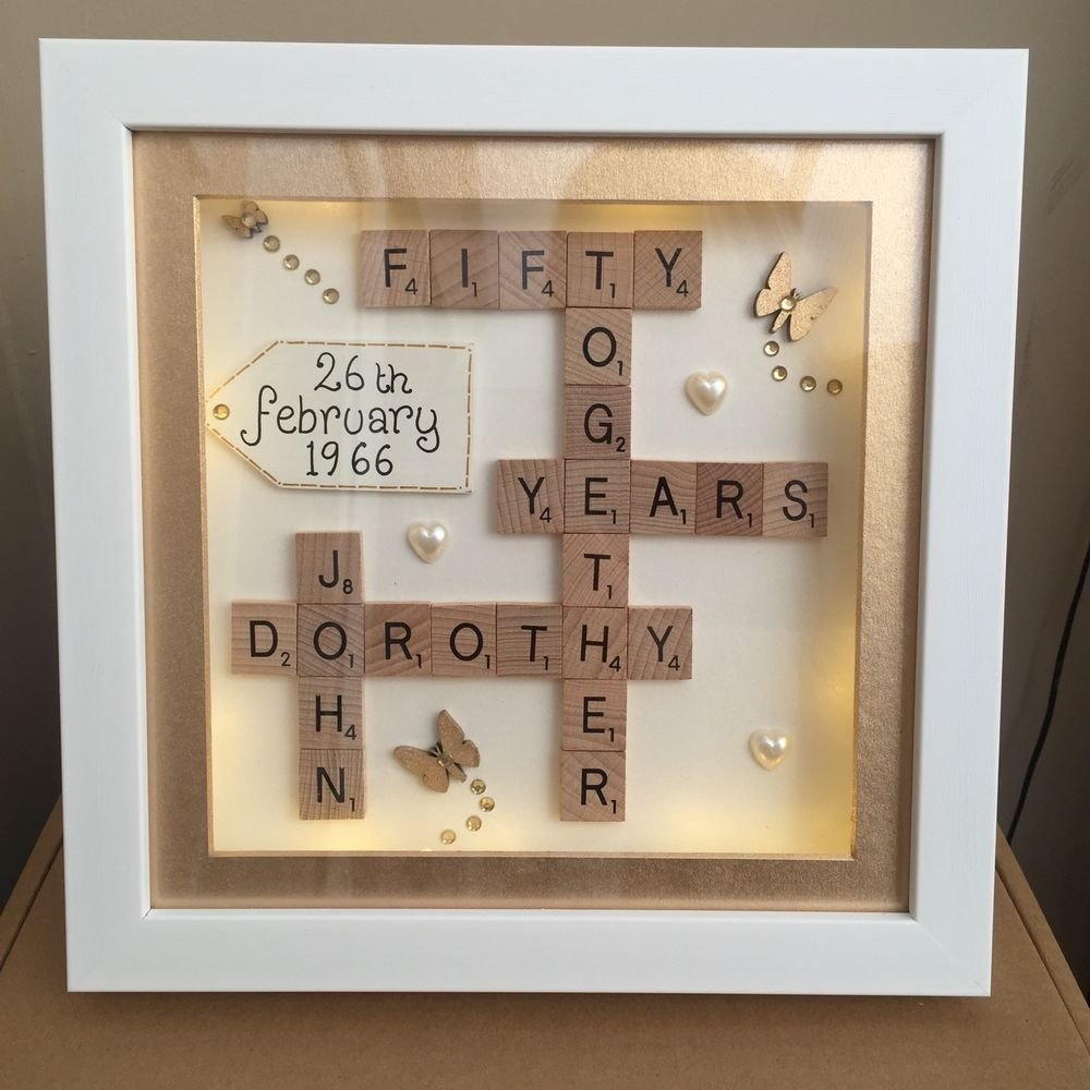 10 Lovely Ideas For 50Th Anniversary Gift boxed led light 3d frame scrabble special wedding silver golden 16