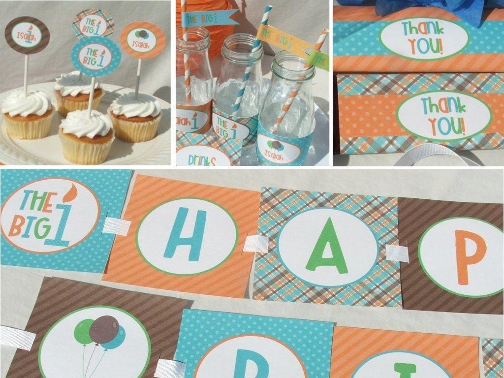 10 Fabulous Baby Boy First Birthday Party Ideas boy first birthday invitation 1st printable orange aqua blue brown 2020