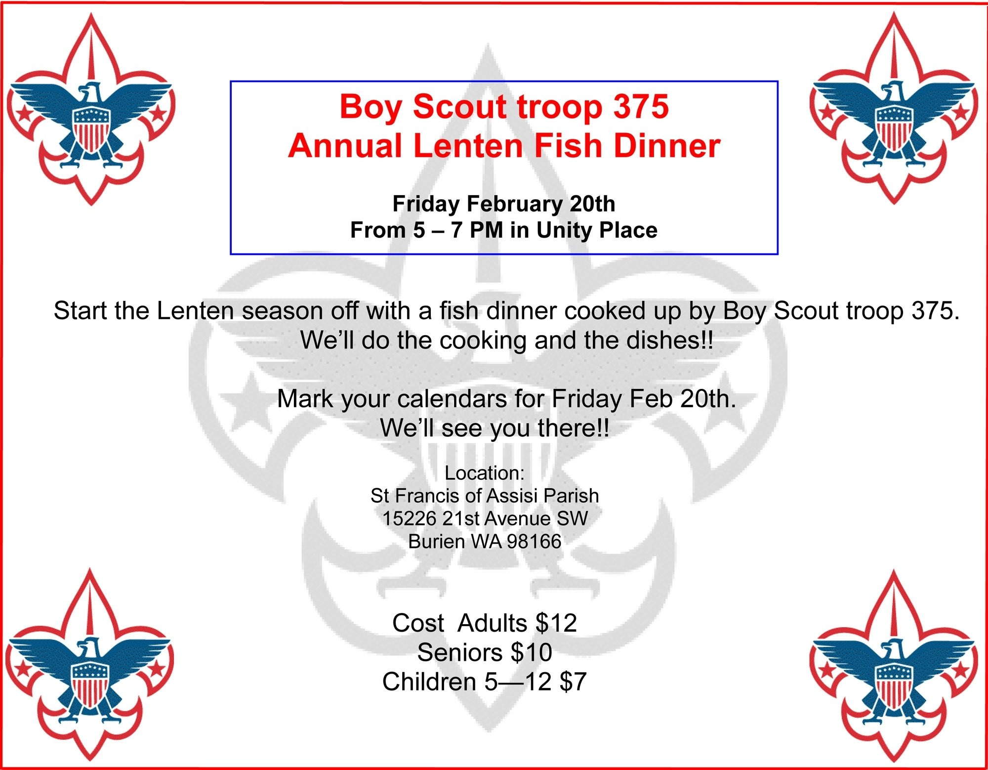 10 Stylish Fundraising Ideas For Boy Scouts boy scout troop 375s annual lenten fish dinner will be friday feb