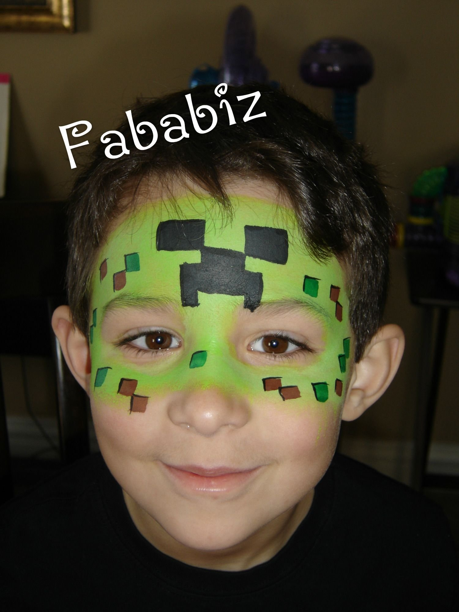 10 Amazing Simple Halloween Face Painting Ideas For Kids boys favorite these days a minecraft face painting this is an easy 2020