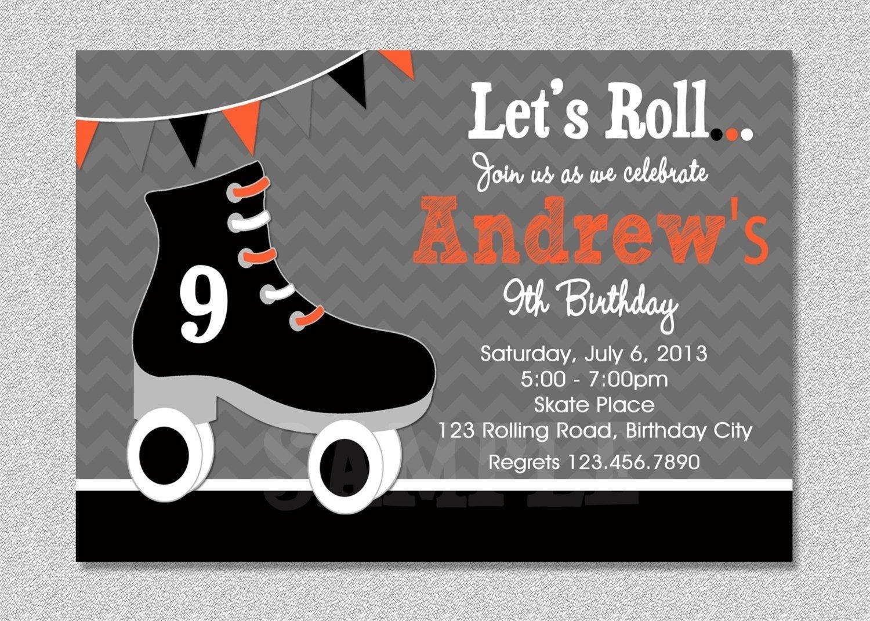 10 Wonderful Roller Skating Birthday Party Ideas boys skating birthday invitation boys roller skating