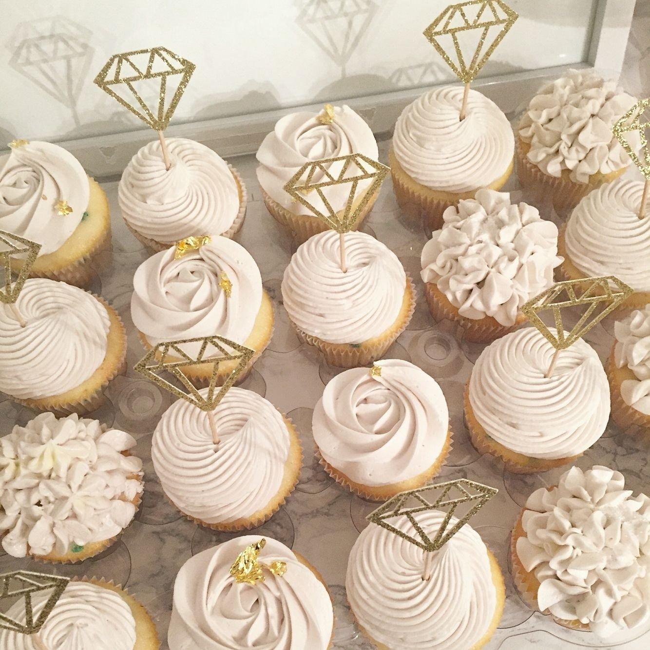 10 Beautiful Cupcake Ideas For Bridal Shower bridal cupcakes rustic shower hydrangea roses diamond ring 2020