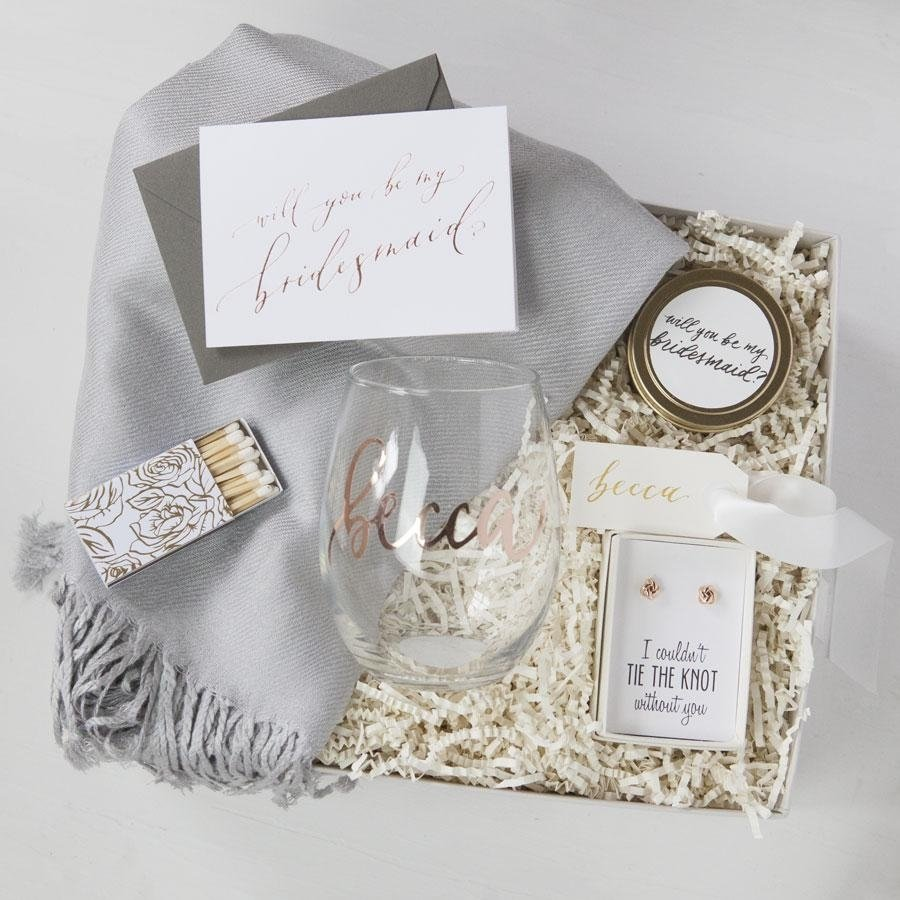 10 Unique Gift Ideas For Wedding Party bridesmaid gift box no 1 bridesmaid wine glasses bridesmaid