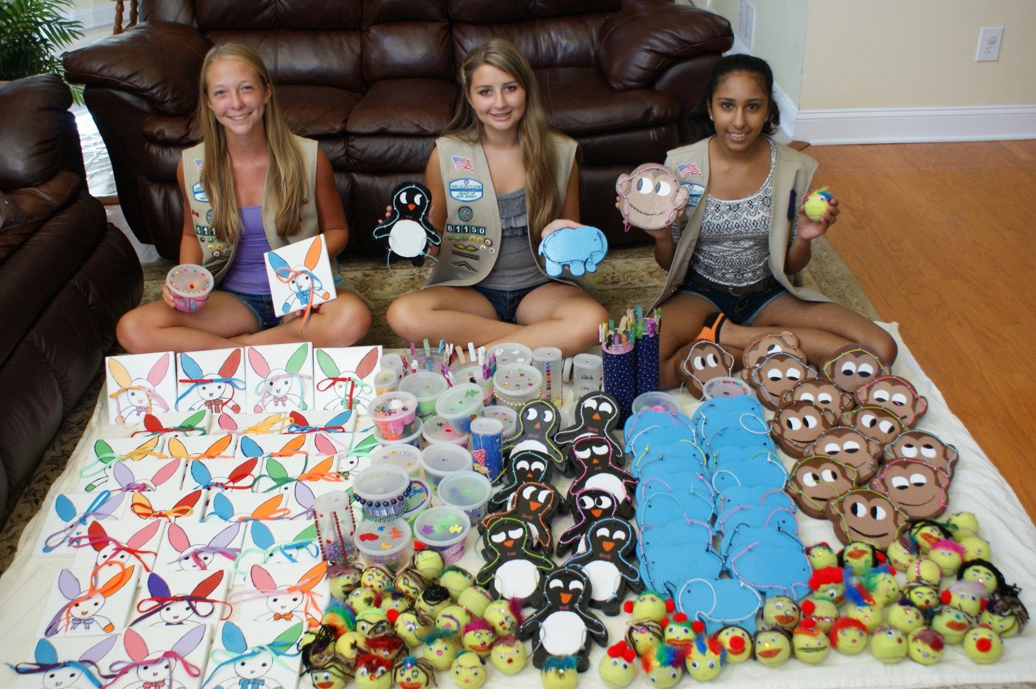 bridgewater girl scouts construct activity toys for students with