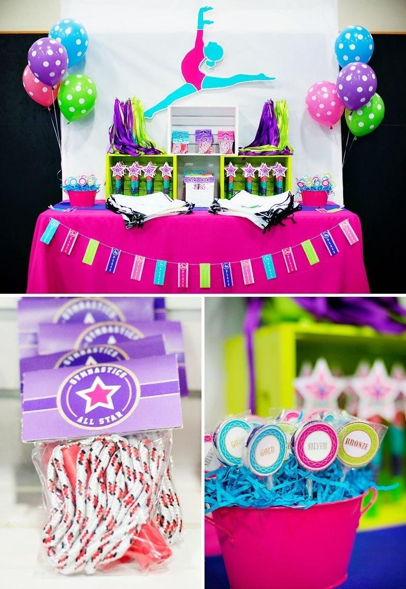 bright & coloful gymnastics birthday party | gymnastics birthday