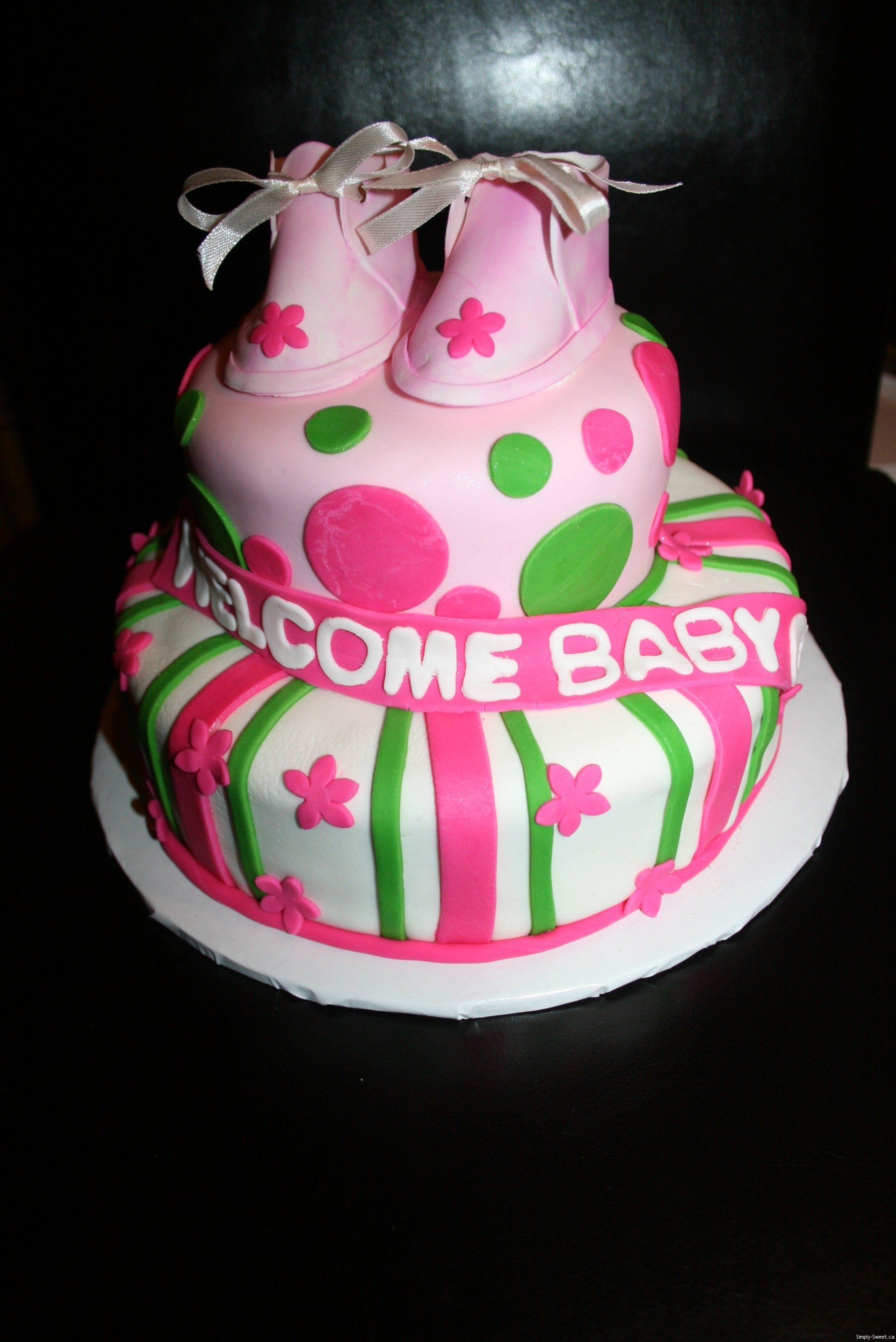 10 Famous Pink And Green Baby Shower Ideas bright pink green springtime baby shower cake simply sweet 2020