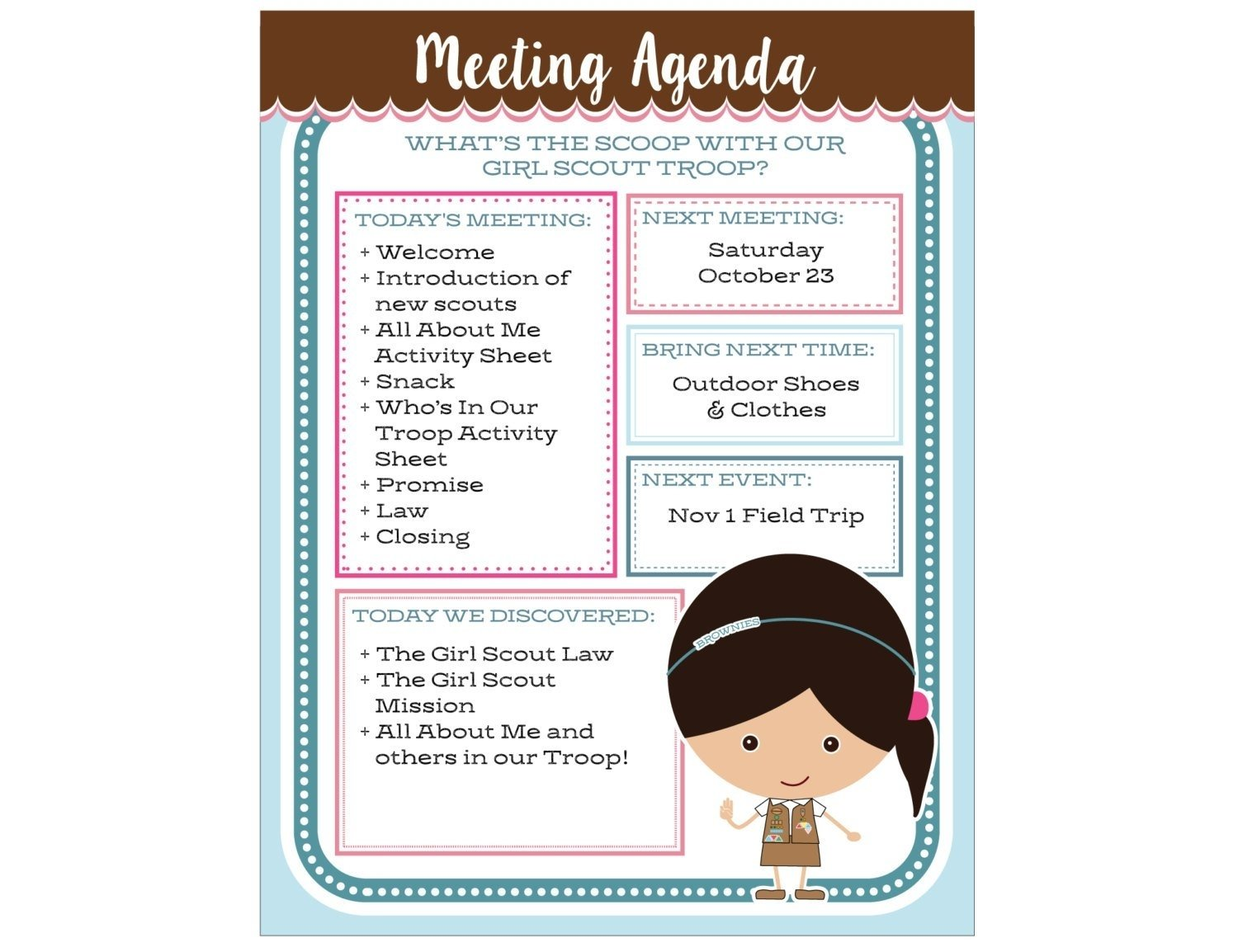 10 Awesome Brownie Girl Scout Meeting Ideas brownie girl scout meeting agenda editable printable