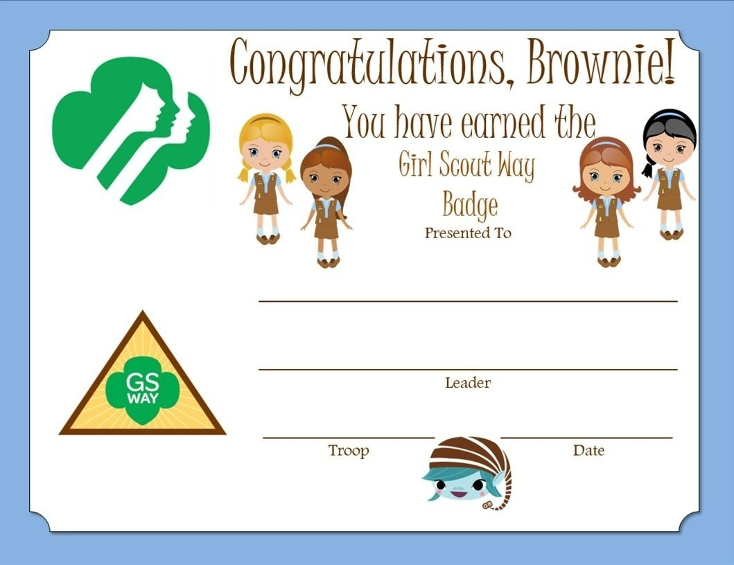 10 Fashionable Girl Scout Way Badge Ideas brownie girl scout way badge certificate brownie girl scouts 2020