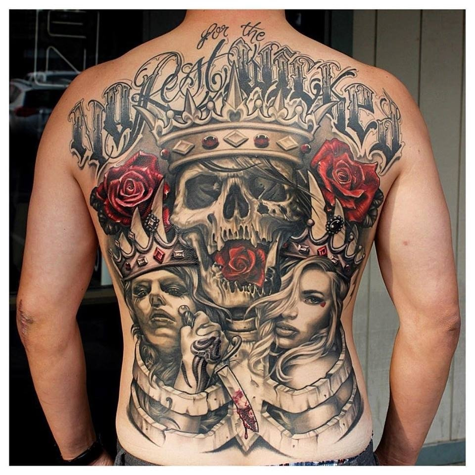 10 Stunning Life And Death Tattoo Ideas brutal and impressive life and death tattoo over entire back from 2020