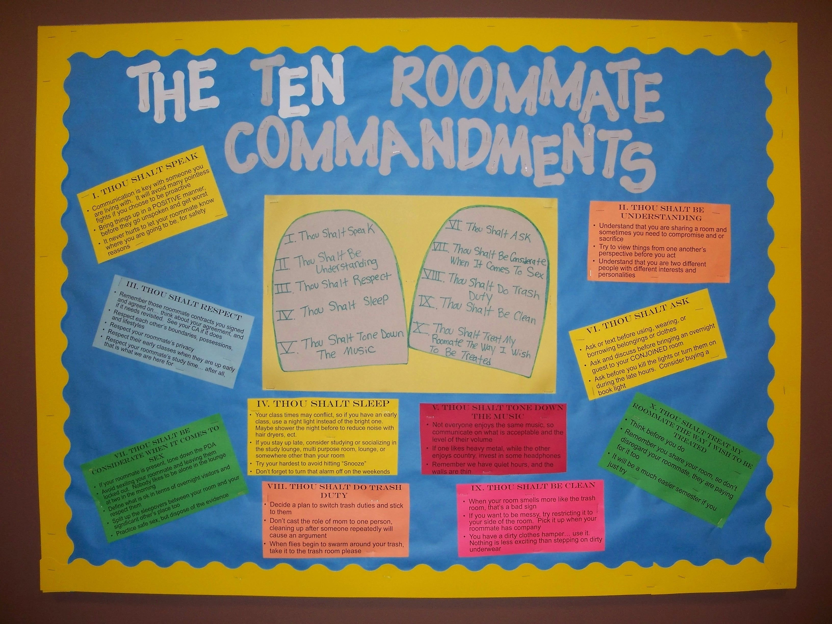10 Amazing Bulletin Board Ideas For Ras bulletin board for ras the theme is the ten roommate commandments 2021