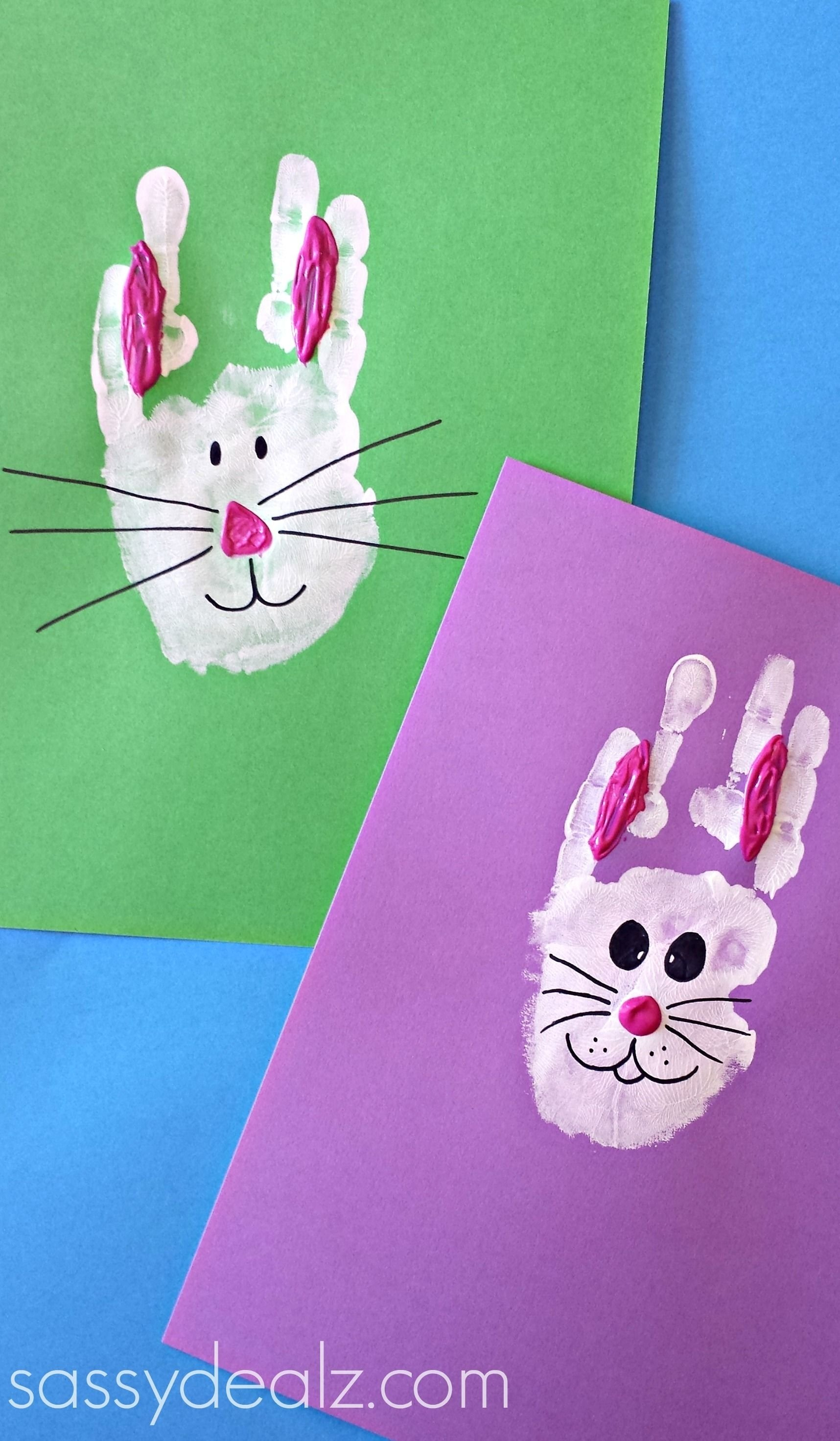 10 Fashionable Easter Arts And Crafts Ideas bunny rabbit handprint craft for kids easter art project idea diy 2021