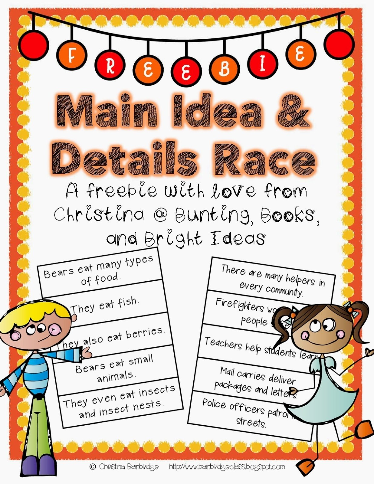 bunting, books, and bright ideas*: main idea and details *freebie*!
