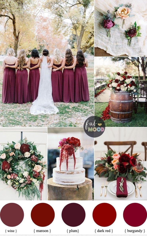 10 Amazing Wedding Color Ideas For Fall burgundy wedding theme autumn wedding shades of burgundy plum 2020