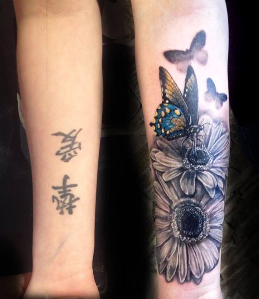 10 Unique Tattoo Ideas For Cover Up butterfly flowers forearm tattoo tattoo pinterest forearm 1 2020