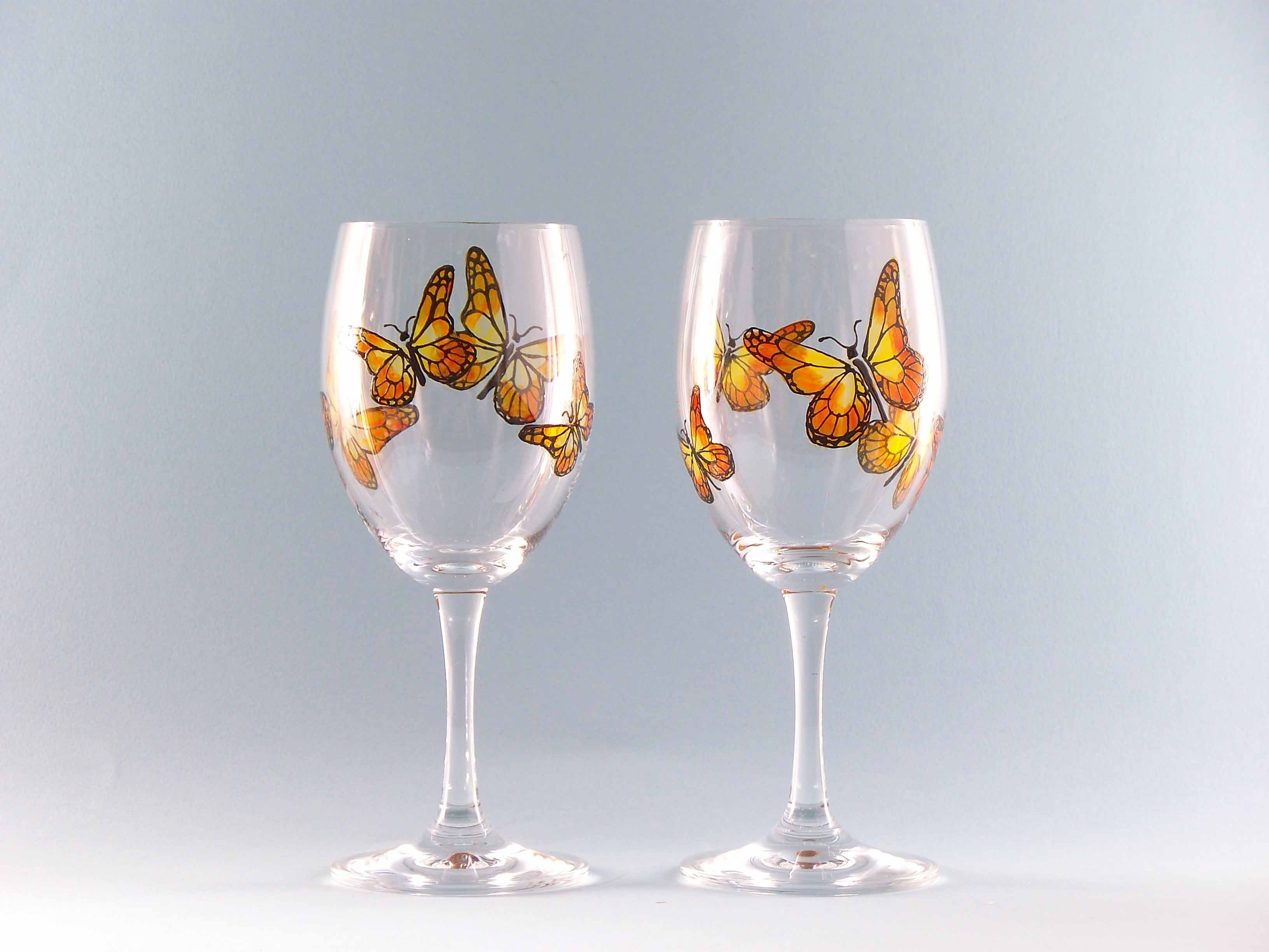 10 Cute Ideas For Painting Wine Glasses butterfly painted wine glasses ideas beautiful glass painting 2021