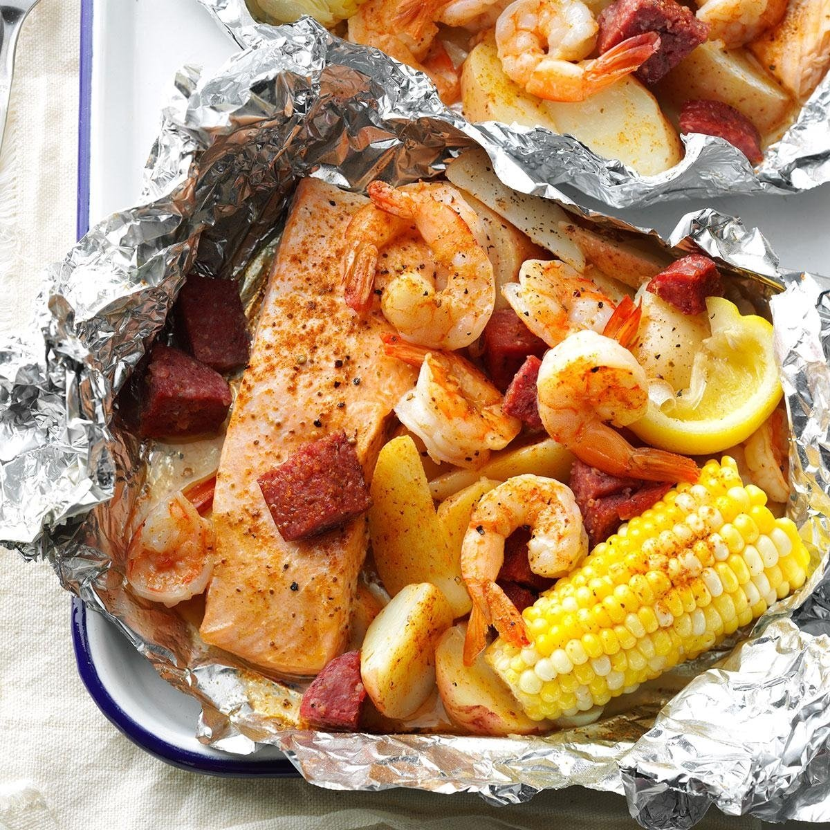 10 Best Dinner Ideas On The Grill cajun boil on the grill recipe taste of home 1