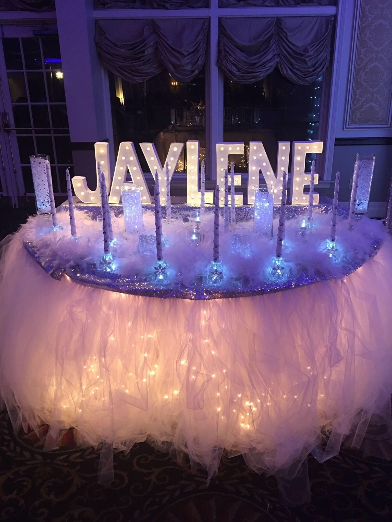 candle ceremony set-up - winter wonderland sweet 16 | winter