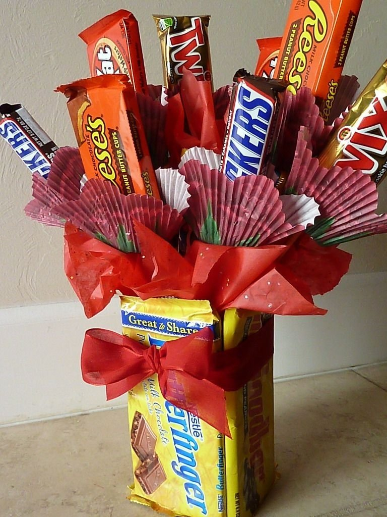 candy bar bouquet with edible vase. perfect for valentine's day or