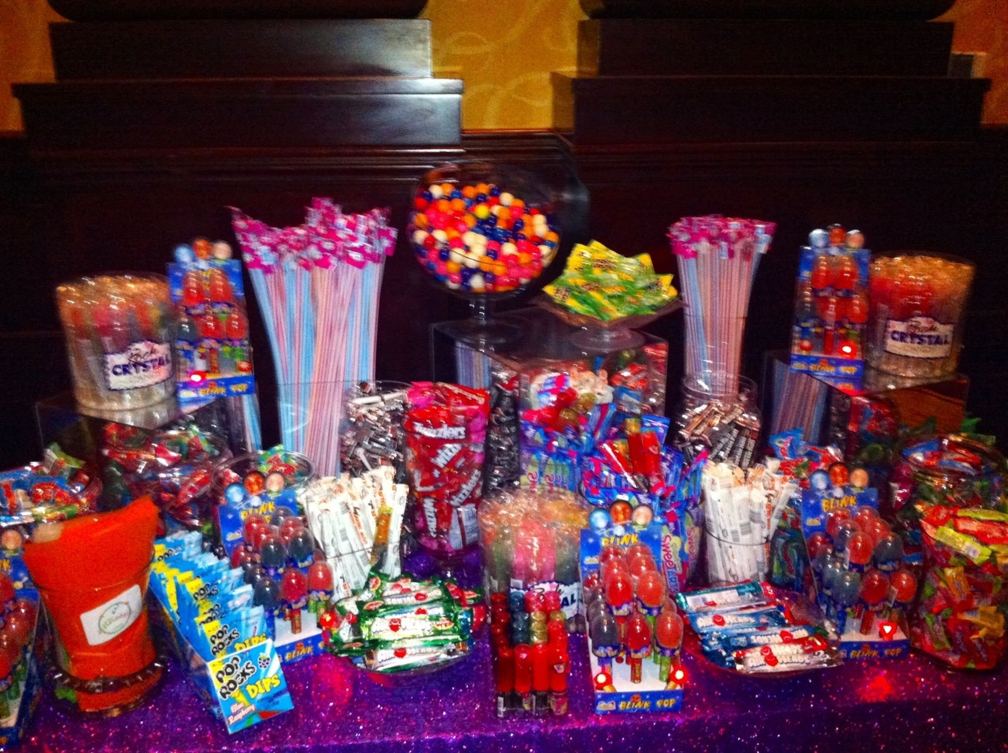 10 Ideal Candy Bar Ideas For Party candy bar with lots of flashing and glowing candy we did for glow 1 2021