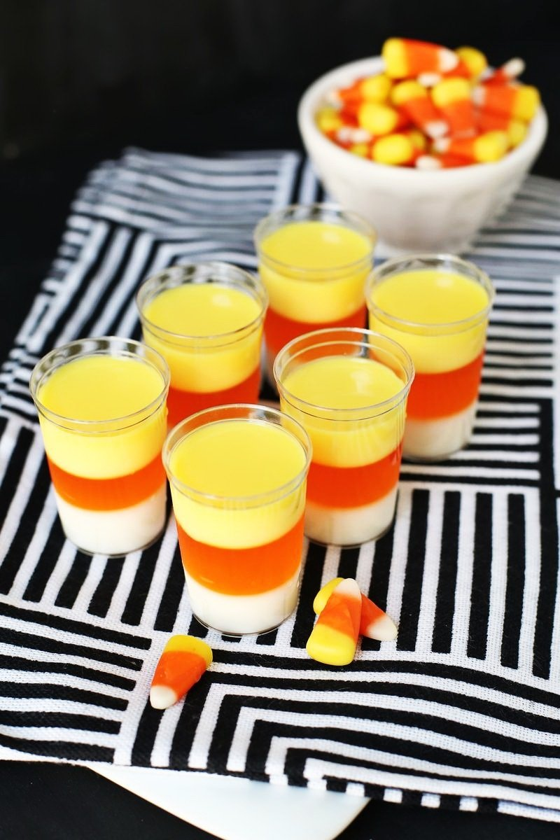 10 Awesome Halloween Party Food Ideas For Kids candy corn jell o cocktail shot best cheap halloween 1