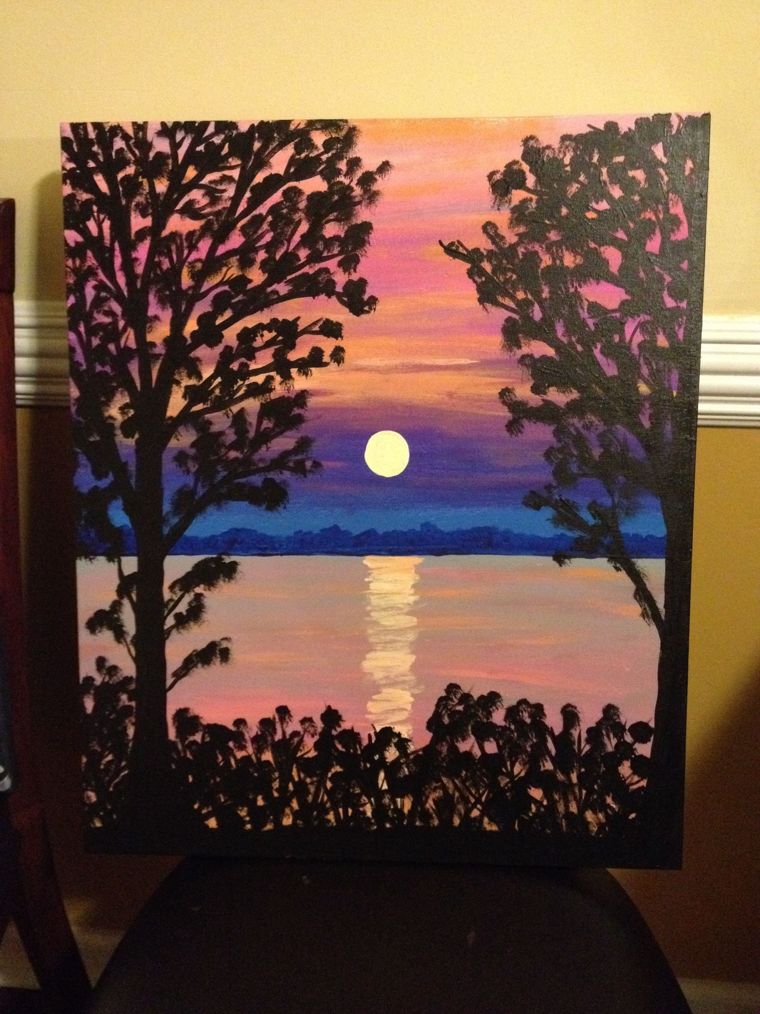 10 Lovable Acrylic Painting On Canvas Ideas canvas painting sunset on the water my paintings pinterest